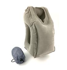 Pockindo Woollip Air Inflatable Neck Travel Sleep Pillow Suede Cushion Free Bag