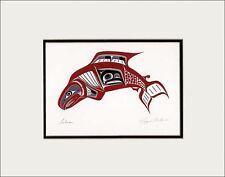 RICHARD SHORTY Kwakwaka'wakw Kwagiulth native artist SALMON matted art print