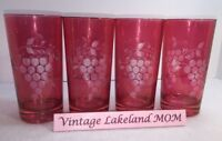 Vintage Red / Cranberry Etched Grape Pattern Drinking Glasses
