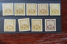 Czechoslovakia 1919 Postage Due SG D24-32 Set of 9 Imperf. stamps MNH (LAM)