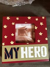 "Nib Veteran Soldier 4""x4"" Proud ""My Hero"" Picture Frame Holds 2.5""x2.5"" Photo"