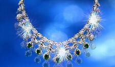 EMERALD PEAR SHAPE DIAMOND ROUND BRILLIANT SHAPE FRONT SET NECKLACE
