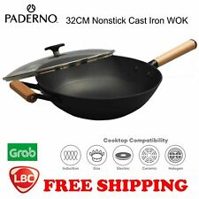 induction wok cast iron nonstick wok 32cm Paderno NOT kitchenaid le creuset