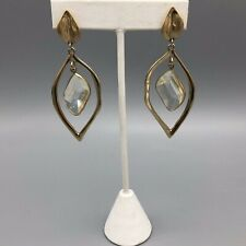Kenneth Cole Quartz Cut Acrylic Crystal Dangle Earrings Gold Tone