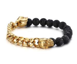 Lava Stones Skull   Gothic Bracelet - Steel   Witchy Wristband   Gothic Jewelry