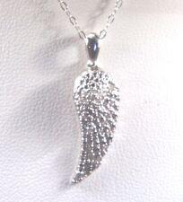 "Diamond Round .09CTW Platinum o/Sterling Silver Wing Pendant 20""Chain 1"" x 3/8"""