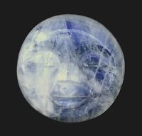 ONE 18mm Round Natural Carved Rainbow Moonstone Face Gemstone Cab Cabochon 6293