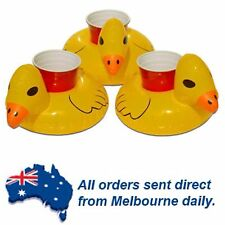 3 X Inflatable Yellow Duck Floating Blow up Drink Can Holder Pool Party Beach
