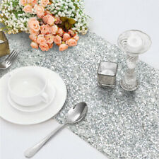 """Silver Glitter Sequin Table Runners Cover 12""""x108"""" Sparkly Wedding Party"""