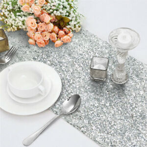 """Silver Glitter Sequin Table Runners Cover 12""""x108"""" Shiny Sparkly Wedding Party"""