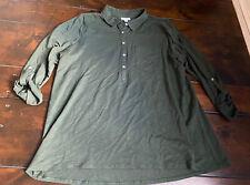 J.Jill Size XL Cotton Modal 3/4 Sleeve Olive Button Blouse