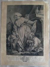 gravure XVIIIème d'après J.B. Greuze le ramoneur etching engraving stampa