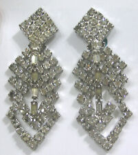Vtg Jewelry KRAMER Earrings Dangling Rhinestone Arrows 2 3/8""