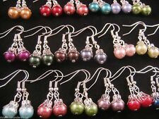 10 Pairs of ORNATE Multi Colour GLASS PEARL Bead Earrings NEW Fashion Jewellery