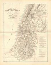 1874 ca LARGE ANTIQUE MAP- JOHNSON -THE HOLY LAND AND ITS BORDERS, PHOENICIA,