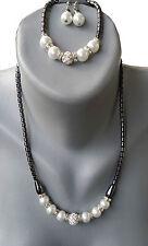 Halskette +Armkette+Ohrringe 3 er Set  mit Perlen in Weiß Hämatit(BlutStein)