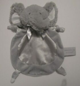 "Bearington Baby Gray Wee Elephant Security Blanket Lovey Satin Belly Chevron 9"""