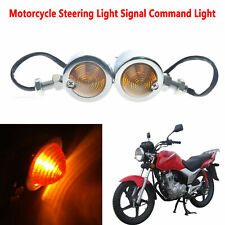 2x Chrome Bullet Motorcycle Front Rear Turn Signal Blinker Indicator Light Amber