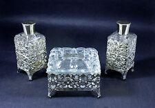 Vintage Gold Ormolu 3 Piece Vanity Hollywood Regency Set Trinket Perfume