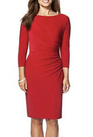 NWT Womens Chaps 3/4 Sleeve Red Faux Front Wrap Sheath Dress Sz XL