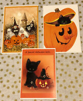 Lot of 3 Vintage Halloween Greeting Cards by Marian Heath ~ Unused w/ Envelopes