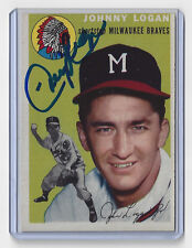1954 BRAVES Johnny Logan signed card Topps #122 AUTO Autographed Milwaukee (D)