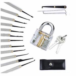 Lock Padlock Picking Kit Tools Transparent Key Extractor Lock Pick Set