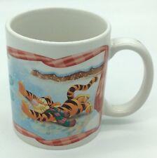 DISNEY Coffee Mug Winnie The Pooh Tigger Eeyore Ice Skating Snowing Frozen Pond