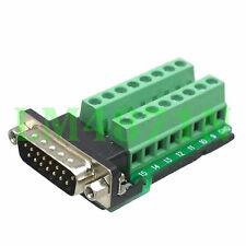 DB15 D-SUB male plug 15pin port Terminal Breakout PCB RS232/485 2 row screw