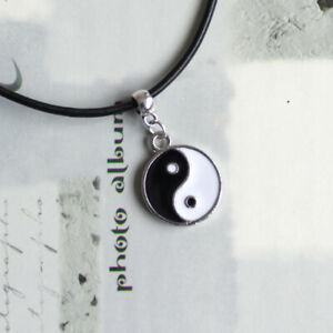 Chinese Yin/Ying Yang/Feng Shui Charm Pendant Necklace with Black Leather Cord