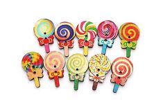 Lollipop Mix Wooden Button Sewing Candy Stick Flower Baby Children 31mm 20pcs