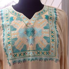 Ladies Embroidered Wheat Color Tunic - M