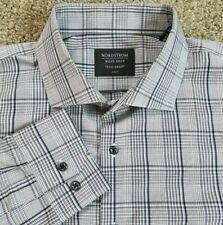Nordstrom Men's Shop 16.5 34/35 Tech Smart Trim Fit Shirt Gray Plaid