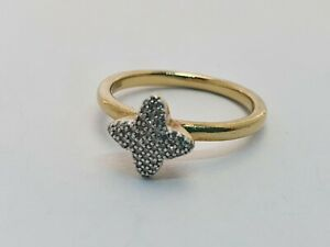 Links OF LONDON Glanz Diamant Ring, Silber Gelb Gold Vermeil N