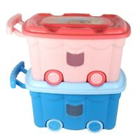 Kids Toys Storage Playroom Organiser Box with Lid and Wheel. 50L Large Capacity.