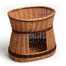 Two Tier Wicker Cat Small Dog Bed House Durable No Chemicals