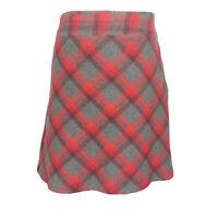 Laura Ashley Red Grey Wool Tartan Check Winter scottish Aline Skirt Size 18
