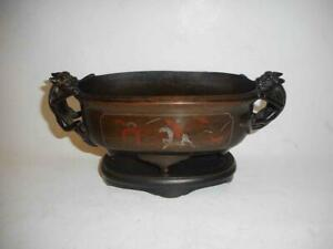 Antique China TOP QUALITY HIGH AGED BRONZE INCENSE BURNER WITH SILVER INLAY