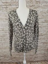 Womens Banana Republic Leopard Print LS Button Up Sweater Cardigan Size XL