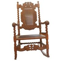 Antique Early 1900s Hand Carved Oak Rocking Chair