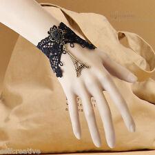 Womens La tour Eiffel Tower Drop Stone Black Flower Lace Bronze Gothic Bracelet