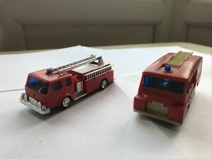 Lucky Vintage Plastic Fire Engine Trucks Hong Kong one with tyres one without