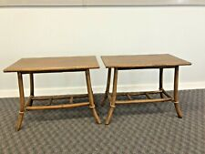 Vintage Mid Century Modern SIDE TABLE SET end stand bamboo bentwood boho chic 2