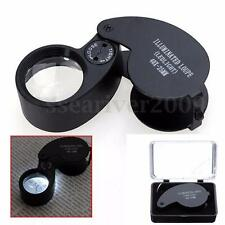 40x25mm Glass Jeweler Magnifying Magnifier Eye Jewelry Loupe Loop W/ LED Light