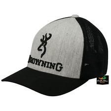NEW BROWNING BRANDED MESH BACK FLEX FIT HAT BALL CAP BUCKMARK LOGO HEATHER SM/MD