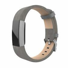 Fitbit Charge 2 Band Luxury Genuine Leather Bracelet Strap Replacement Gray UK