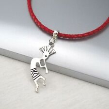 Silver Alloy Kokopelli Music Pendant  Braided Red Leather Ethnic Tribal Necklace
