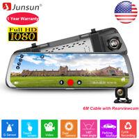 10'' Junsun 1080P Car DVR Rear Mirror Camera Dash Cam Dual Lens Video Recorder