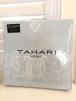 TAHARI HOME 3pc QUEEN DUVET SET EMBROIDERED Mint GREEN 100% Cotton NEW
