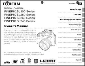 FujiFilm FinePix SL240 SL260 SL280 SL300 Camera User Guide Instruction  Manual